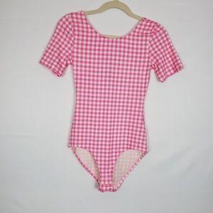 H&M Short Sleeve One Piece Bodysuit Pink/White S